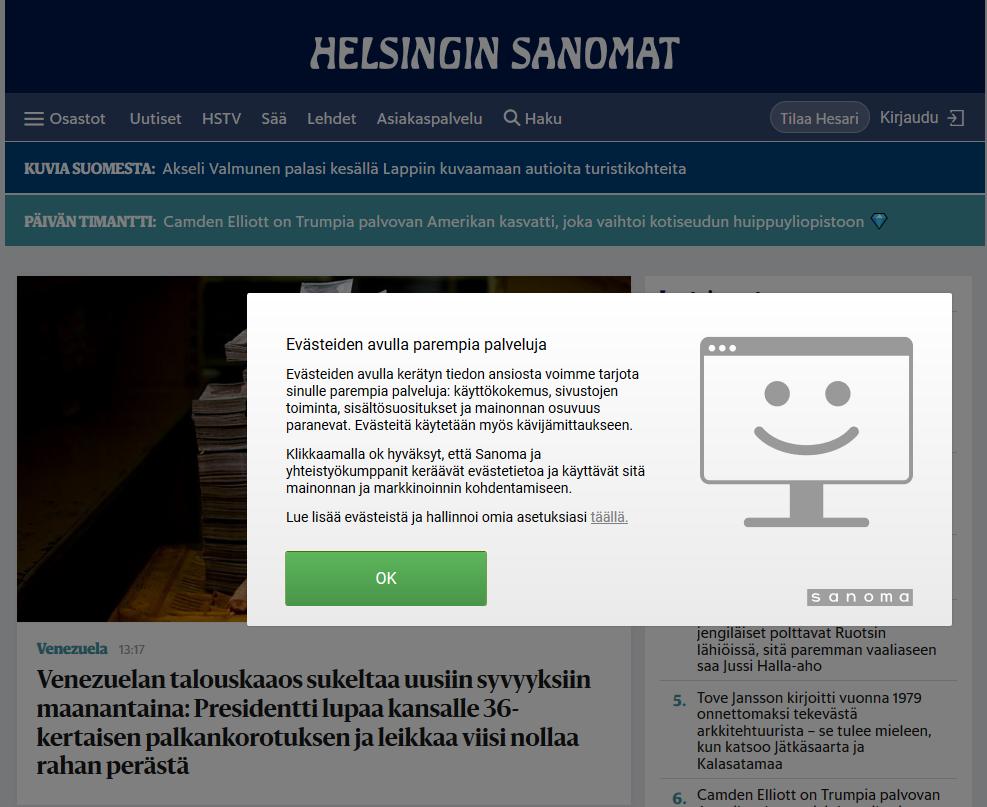 Helsingin Sanomien evästeilmoitus
