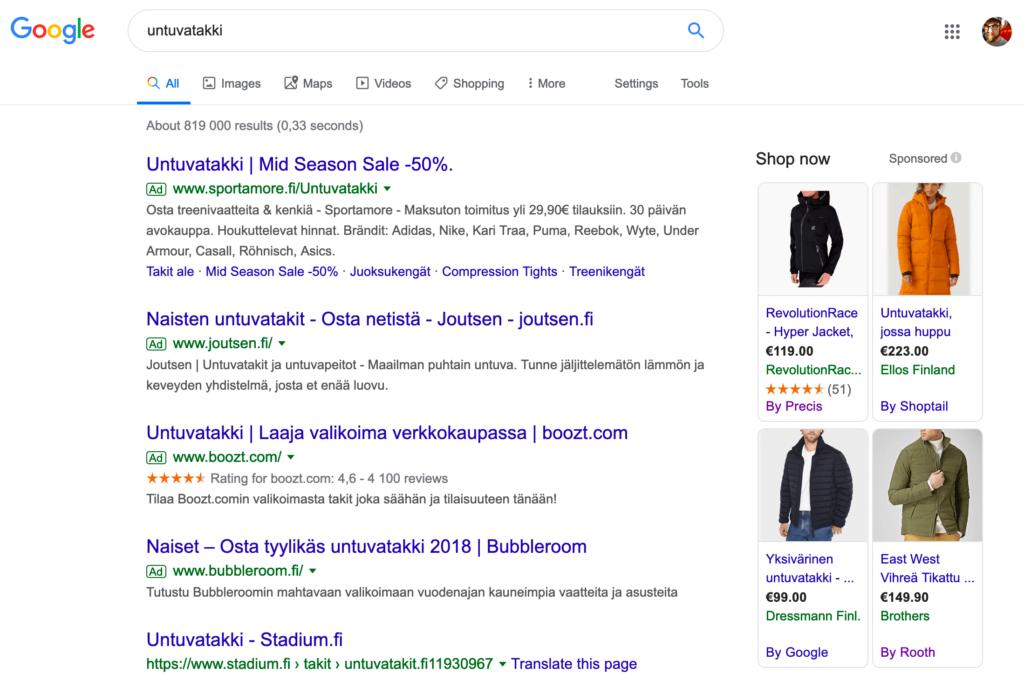 Google Shopping mainokset hakutulossivulla